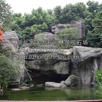 湖北武汉园林石_武汉风景观石塑石?塑树泉景