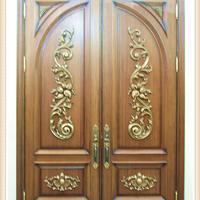 奢华尊贵包铜工艺实木雕刻别墅门