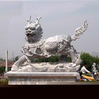 供应汉白玉献钱狮,石雕麒麟,石雕独角兽