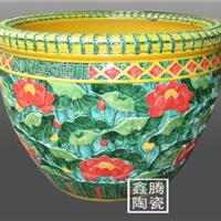 供应粉彩山水花鸟陶瓷大缸