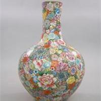 供应高仿粉彩瓷定做花瓶酒店装饰花瓶