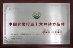 中国家居行业十大口碑力品牌