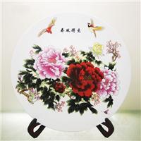 供应装饰挂盘,粉彩牡丹瓷盘,定做纪念盘
