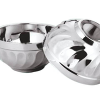 供应凯迪克不锈钢玉兰碗双层碗食碗11.5-20m