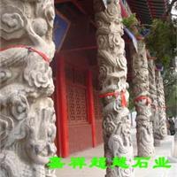 白色花岗岩石头龙雕文化柱生产厂家