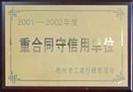2001-2002年度重合同守信用单位