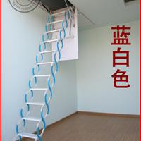 供应自动促销复式别墅小阁楼伸缩楼梯钢木家用室内隐形折叠升降梯