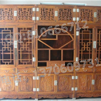 老挝交趾黄檀书柜三件套,大红酸枝顶箱书柜