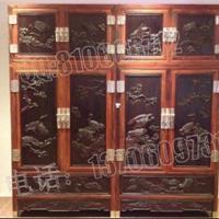 供应丝翎檀雕顶箱柜,老挝大红酸枝顶箱柜