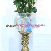 供应陶瓷底座花瓶,玻璃氧气花瓶,灯光鱼缸