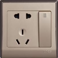 供应两极双用加两极带接地插座带双控开关