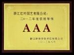 2012年度AAA信用等级证书