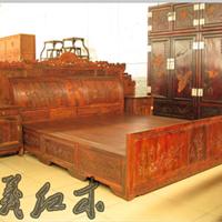 大红酸枝雕花鸟架子床 古典卧室双人床