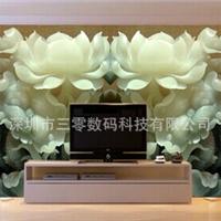 中式玉雕大型壁画定制 3D立体白莲花墙纸