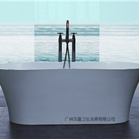 汉晶卫浴厂家直销独立式人造石浴缸广州