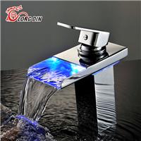 LED光水力发电冷热瀑布面盆水龙头LD-3912