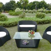 厂家供应带钢化玻璃编藤桌椅休闲躺椅
