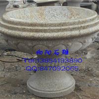 黄锈石石雕花盆|石材花钵|景观种植石材花盆