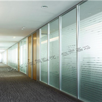 供应办公室高隔断铝型材 单玻 双面玻璃百叶