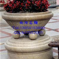 杭州黄锈石荔枝面花钵、黄金麻光面花钵