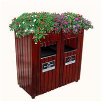 供应防腐木园林垃圾箱