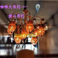 中山厂家淡季促销漫咖啡吊灯摩洛哥地中海土耳其风格玻璃彩色吊灯