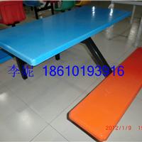 河北霸州胜芳镇玻璃钢条凳四连体餐桌椅