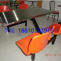 河北霸州胜芳不锈钢桌面四连体餐桌椅