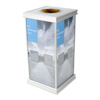 供应金柯ZD-0034钢化玻璃垃圾桶含广告画面