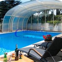 供应嫒池4泳池伸缩阳光房