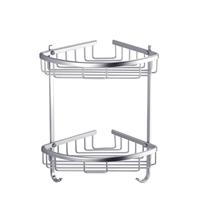 淋欧太空铝双层三角置物架转角篮浴室角架