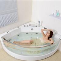 尚雷仕墙角弧形冲浪按摩镶玻璃浴缸