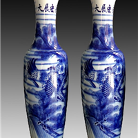 供应手绘青花大展宏图陶瓷大花瓶大花瓶厂家