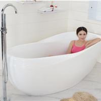 供应尚雷仕贵妃浴缸独立式圆形白色单人浴盆
