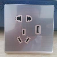 厂家供应触摸开关配套拉丝USB五孔插座