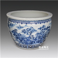 陶瓷缸批发 陶瓷大缸定制 手工雕刻陶瓷缸