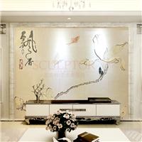 瓷砖背景墙现代简约 客厅 拼花镶嵌 飘香