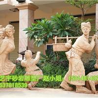 砂岩雕塑 欧式人物 动物小品摆件 喷水雕塑