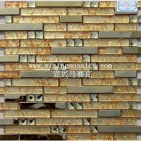 供应金色玻璃马赛克混拼304不锈钢马赛克