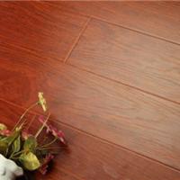 供应红色真木纹拉丝防水高耐磨强化地板