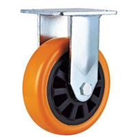 型C款橙色通花PU固定轮 聚氨酯脚轮