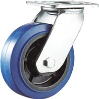 供应4/5/6/8寸重型双轴蓝色弹力橡胶脚轮