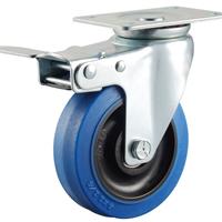 供应中型蓝色弹力橡胶脚轮