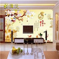 家和富贵玉兰花九鱼电视瓷砖背景墙