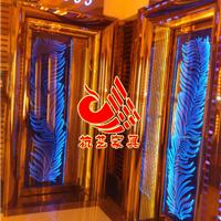 黄石夜场彩色玻璃门 高档KTV钛金门常规尺寸