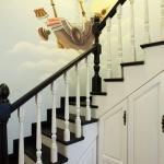 济南实木楼梯扶手玻璃护栏整体楼梯