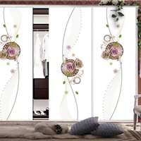 供应超白5D镭射喷绘衣柜门艺术玻璃衣柜门