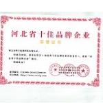 河北省十佳品牌证书
