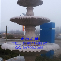 景观石雕喷泉、小孩抱鲤鱼喷泉、黄锈石喷泉