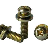 镀彩圆头三组合螺丝,合机械螺钉,机螺钉